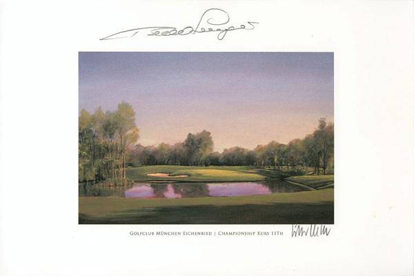 Original autograph on FineArt print. Bernhard Langer | Golfclub München Eichenried | 11th BMW International Open