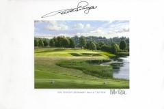 Original autograph on FineArt print. Bernhard Langer | Golf Club Gut Lärchenhof | 16th Lake View