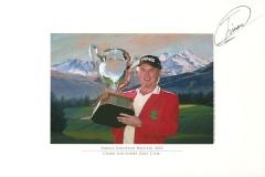Original autograph on FineArt print. Miguel Angél Jimenez | Crans sur Sierre Colf Club 7th | Omega European Masters 2010