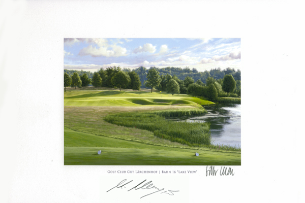 Original Autograph on FineArt Print. Martin Kaymer | Golf Club Gut Lärchenhof | 16th Lake View